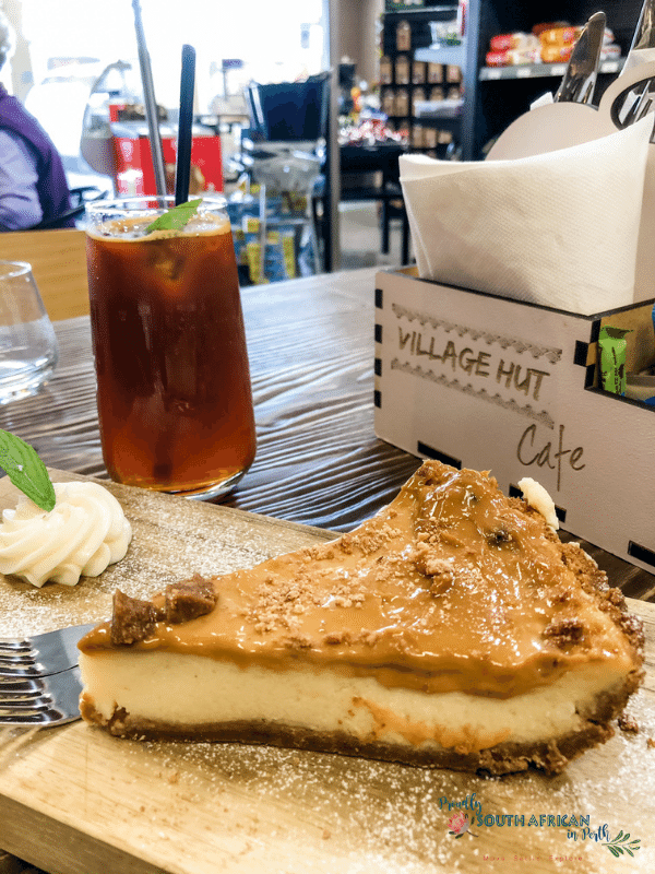 Caramel milk tart at Village Hut Café Woodvale