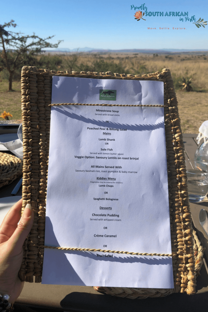 Dinner Menu Ndaka Safari Lodge - Nambiti Private Game Reserve South Africa