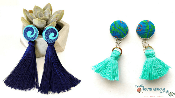 Shweshwe Roots Tassle Earrings