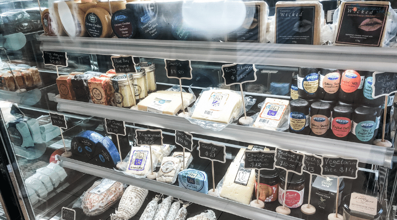 Cheese cabinet at Two Birds Fromagerie